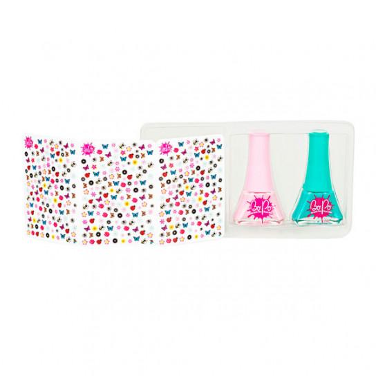 BoPo: набор из розового и бирюзового лаков для ногтей и 300 стикеров Цветочный сад