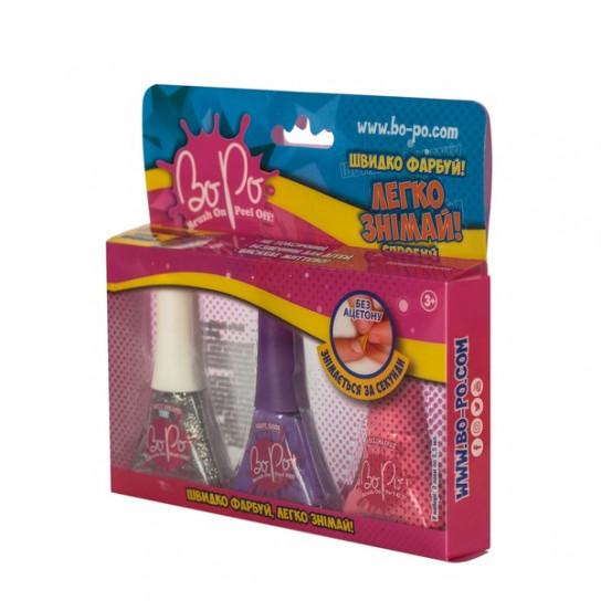 BoPo: набор из трех лаков (блестящий, фиолетовый, розовый)