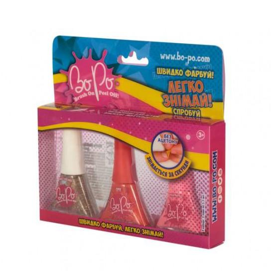 BoPo: набор из трех лаков (блестящий, красный, розовый)