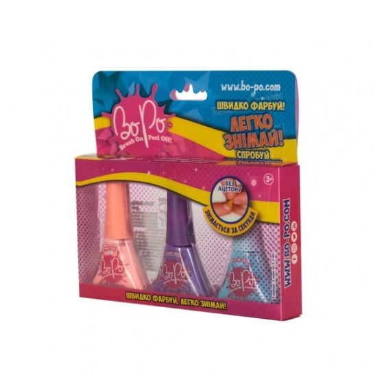 BoPo: набор из трех лаков (розовый, фиолетовый, голубой)
