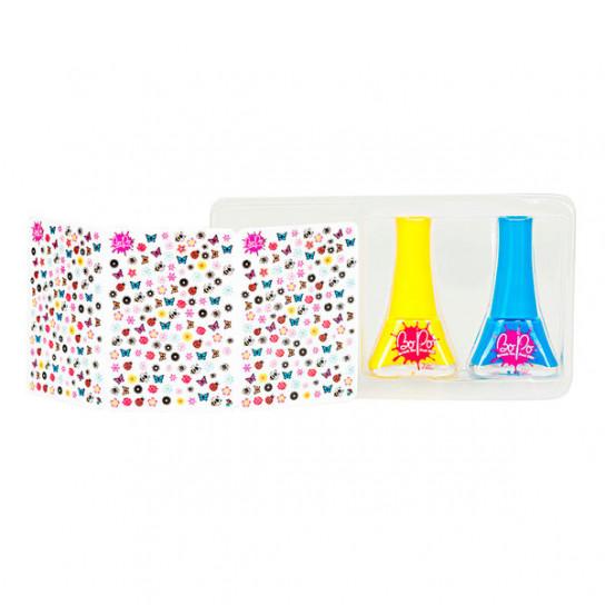 BoPo: набор из желтого и голубого лаков для ногтей и 300 стикеров Цветочный сад