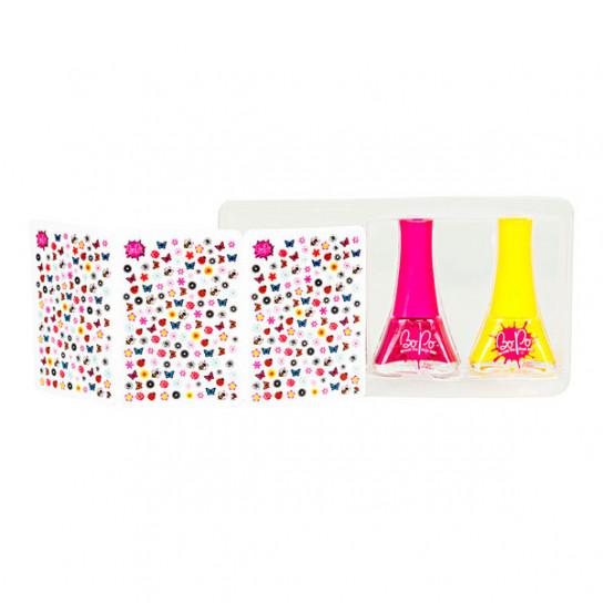 BoPo: набор из желтого и малинового лаков для ногтей и 300 стикеров Цветочный сад