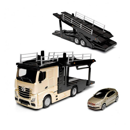Игровой набор - АВТОТРАНСПОРТЕР MERCEDES-BENZ ACTROS c автомоделью VW POLO GTI MARK 5