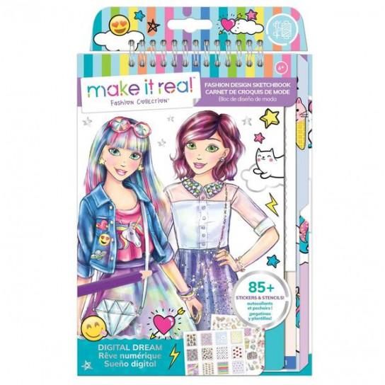 """Make it Real: Блокнот c трафаретами для создания модных коллекций """"Розовая мечта"""""""