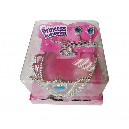 Набор аксессуаров для девочки (диадема, серьги, кулон и кольцо) с бирюзовыми стразами