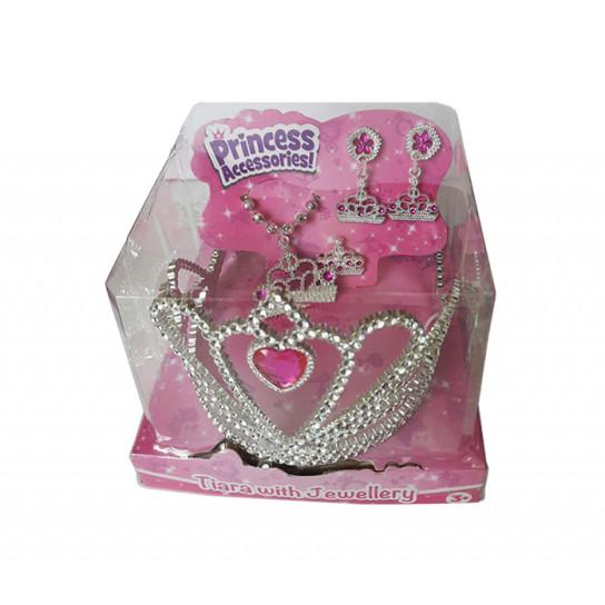 Набор аксессуаров для девочки (диадема, серьги, кулон и кольцо) с розовыми стразами