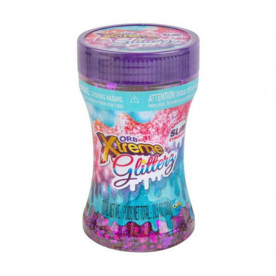 ORB Slimy Xtreme Glitterz: мега-глиттерный слайм в контейнере фиолетовый (455 г)
