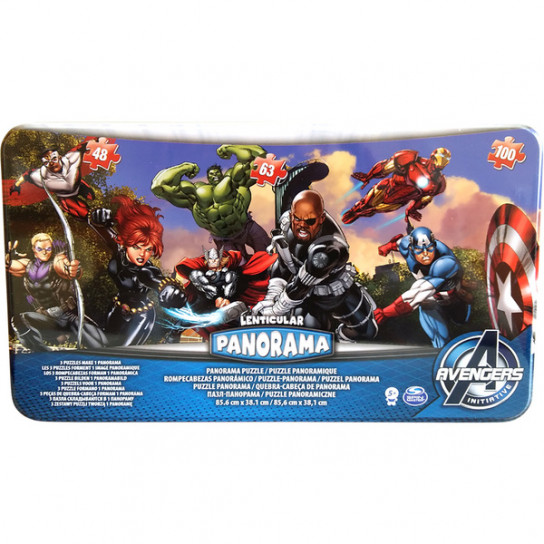 Пазл Панорама 3 в 1 «Мстители» (в жестяной коробке)