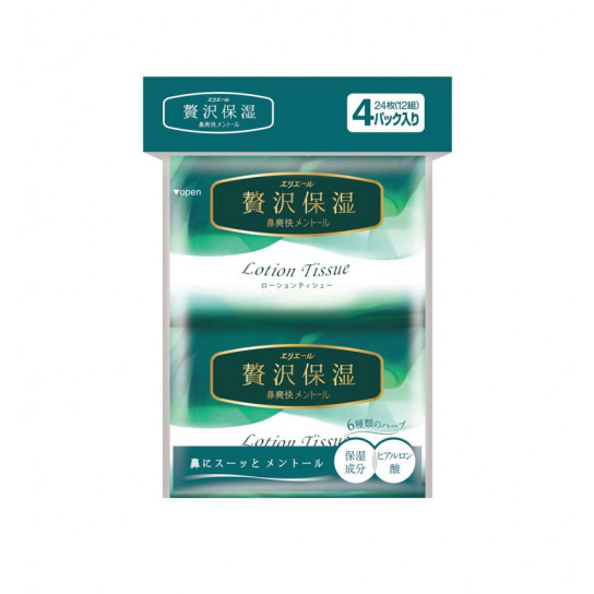 Платочки Бумажные Освежающие Elleair Fresh Lotion (4 Карманные Упаковки * 12 Шт)