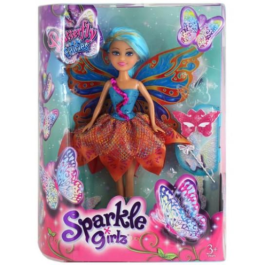 Волшебная фея-бабочка Злата в сине-оранжевом платье (25 см)